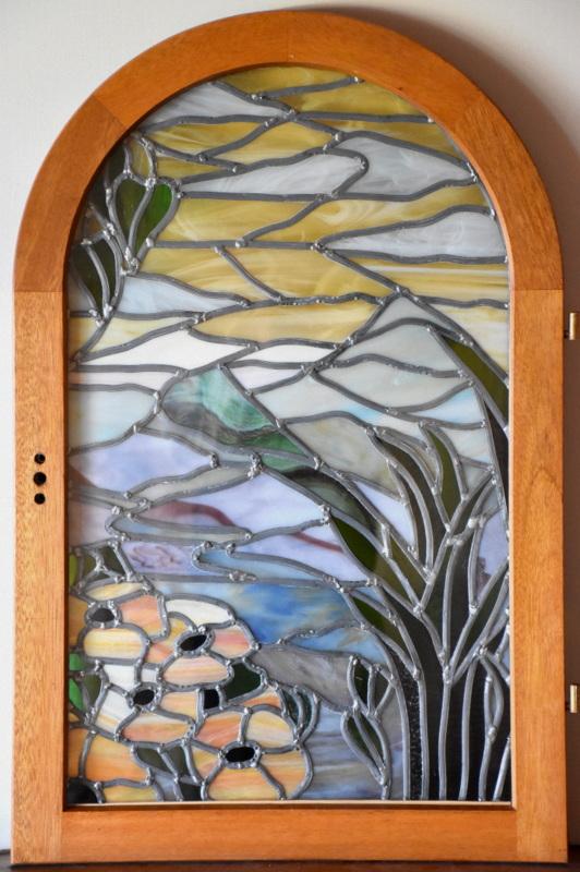 Après intervention - PAYSAGE ART DECO (80x50) Création vitrail Tiffany
