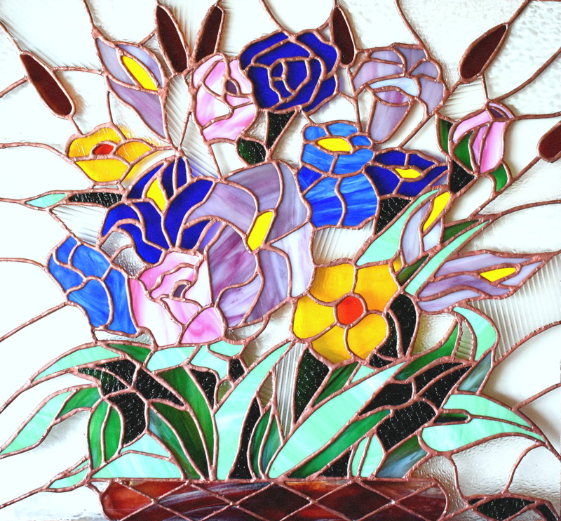 BOUQUET (60x56) Création vitrail Tiffany