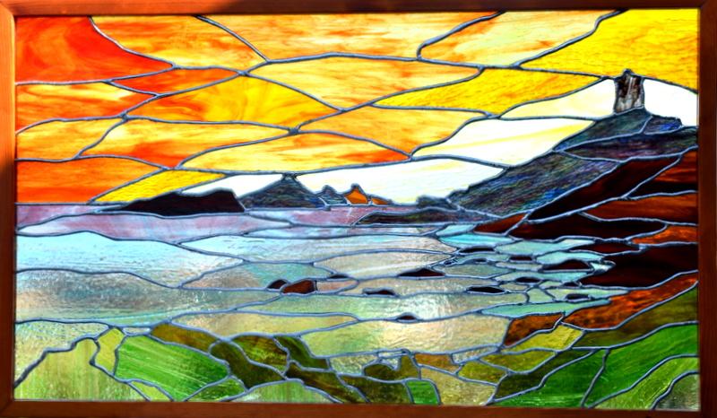 LES ILES SANGUINAIRES (CORSE DU SUD) (89X51) création vitrail tiffany