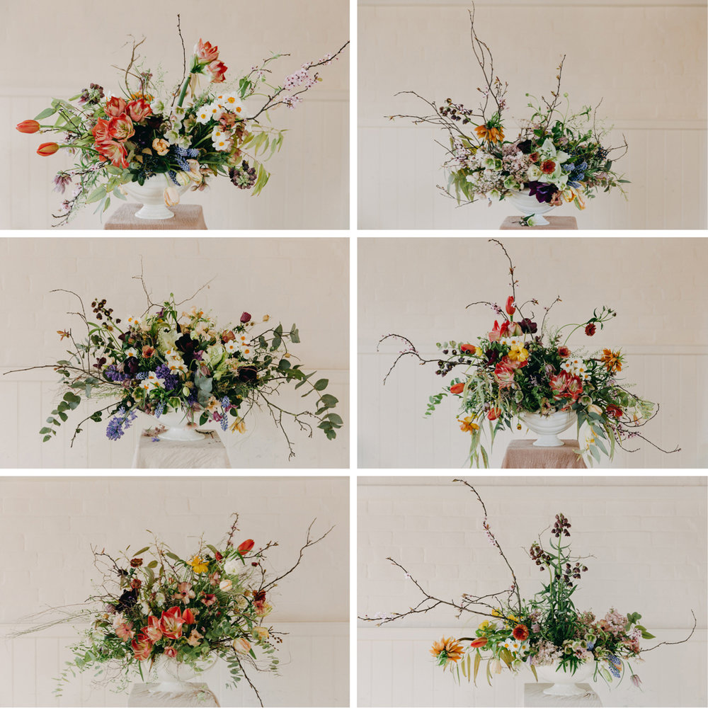Flowers by (clockwise from top left: Nettlewood Flowers, Louise Langdon, Wild&Co Flowers, Eva Nemeth, SunsnRoses Flowers, Sebastian Conrad  Photos by Eva Nemeth