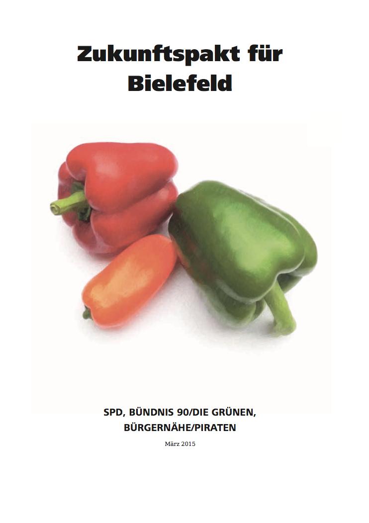 Koalitionsvertrag Deckblatt - Zukunftspakt für Bielefeld - Link auf Datei