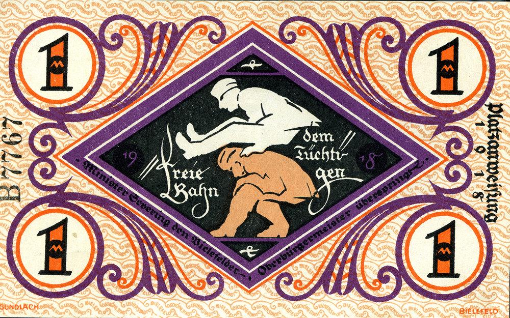 """Notgeldschein_eine_Mark_1918_Rückseite   Ein """"1-Mark-Schein"""" als Notgeld vom 1. Dezember 1918: Carl Severing und Rudolf Stapenhorst veranstalten Bockspringen. (Sammlung Wibbing)"""