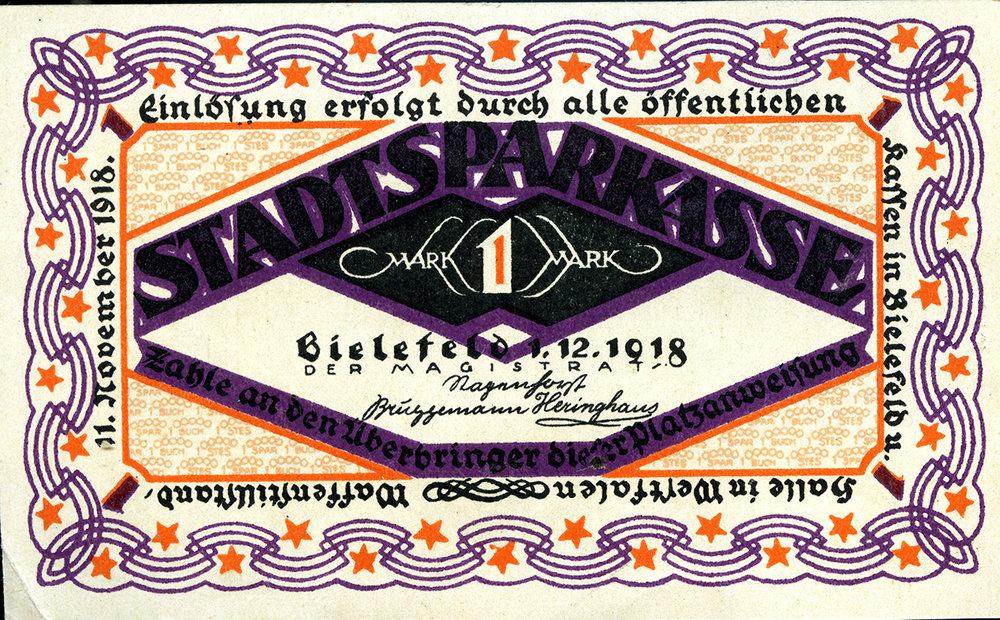 Notgeldschein_eine_Mark_1918_Vorderseite Sammlung Wibbing.jpg