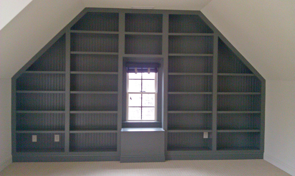 Gable Bookcase with Beadboard Backing