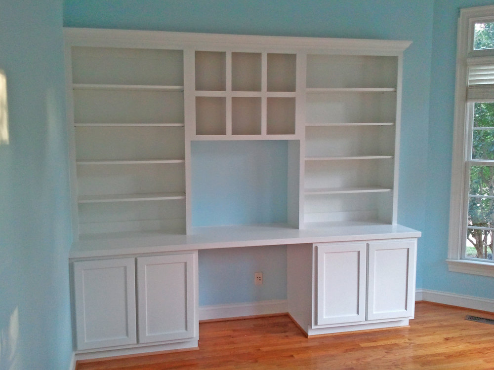 Custom Desk with Shaker Doors, Upper Cubbies & Painted Countertop