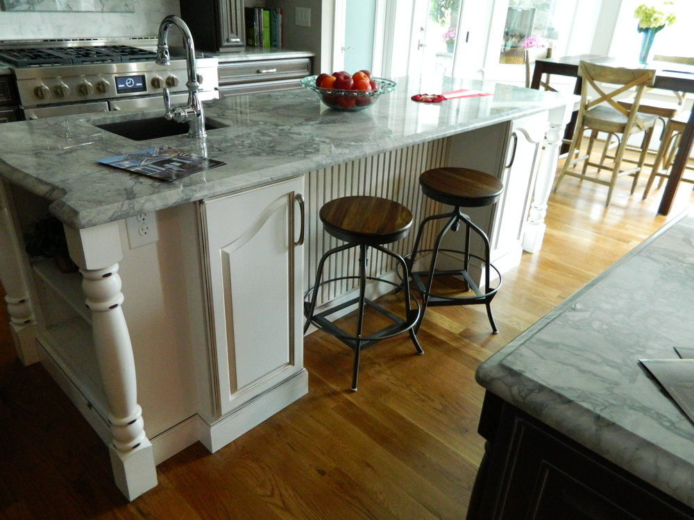 White Distressed Kitchen Island with Column Detail