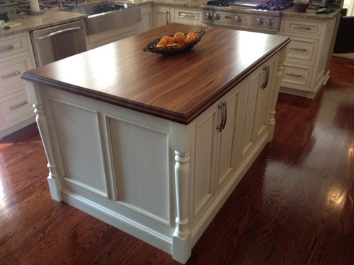 White Kitchen Island with Stain Top and Column Detail