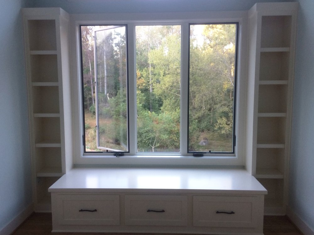 Custom Window Seat with Side Bookcases
