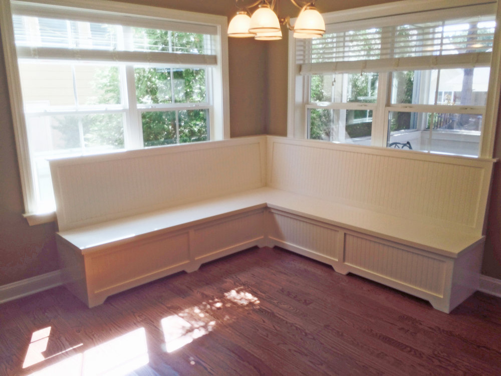 Dining L-Shaped Banquette with Recessed Panel Detail, Framed Smooth Backer & Toe Kick Detail