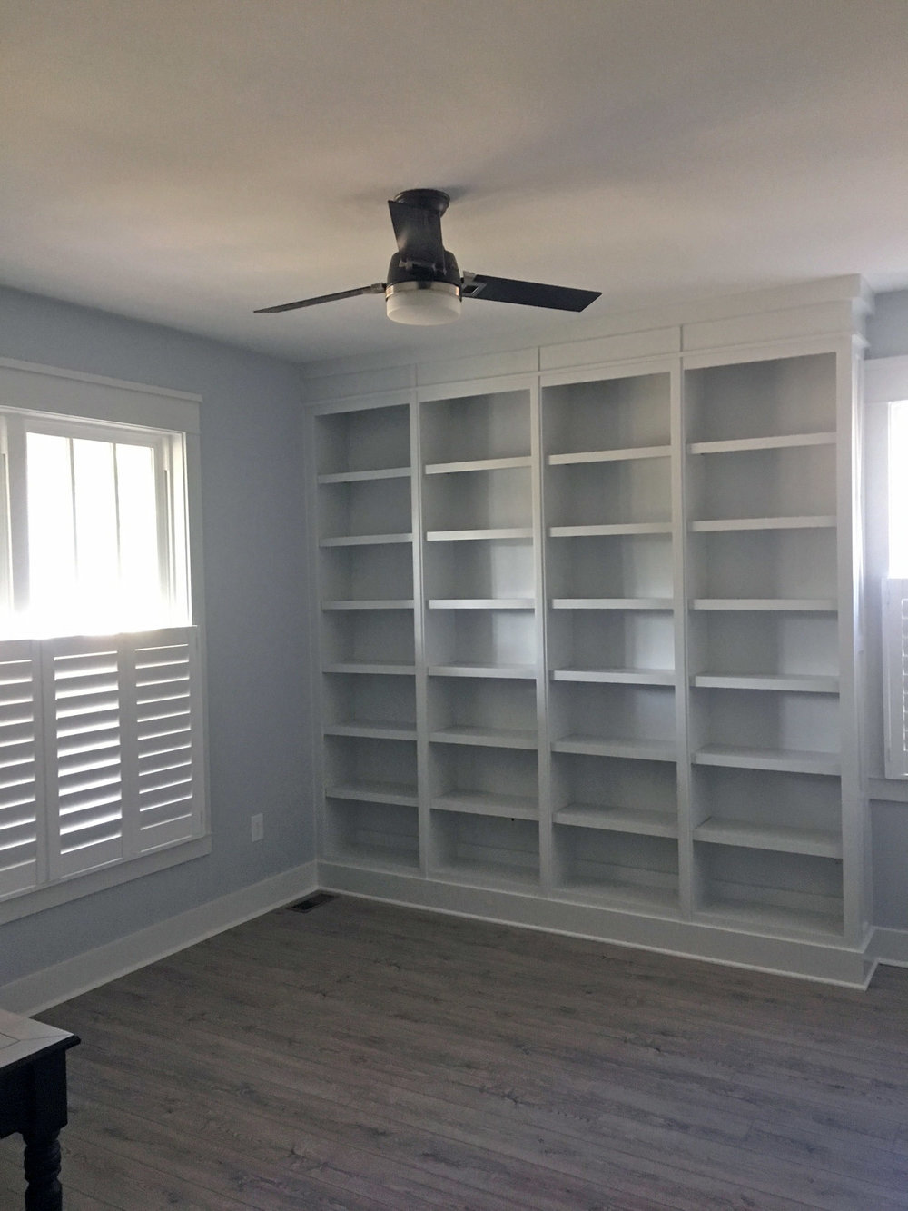 Custom Bookcase with X-End Panel Detail