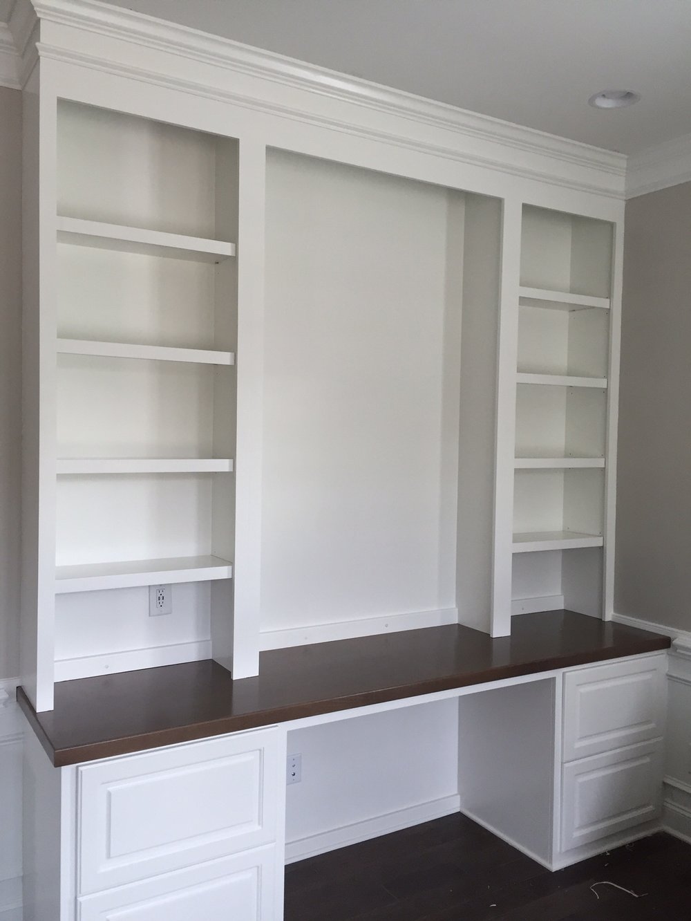 Custom Desk with Raised Panel Filing Drawers, Adjustable Shelves & Maple Stain Countertop