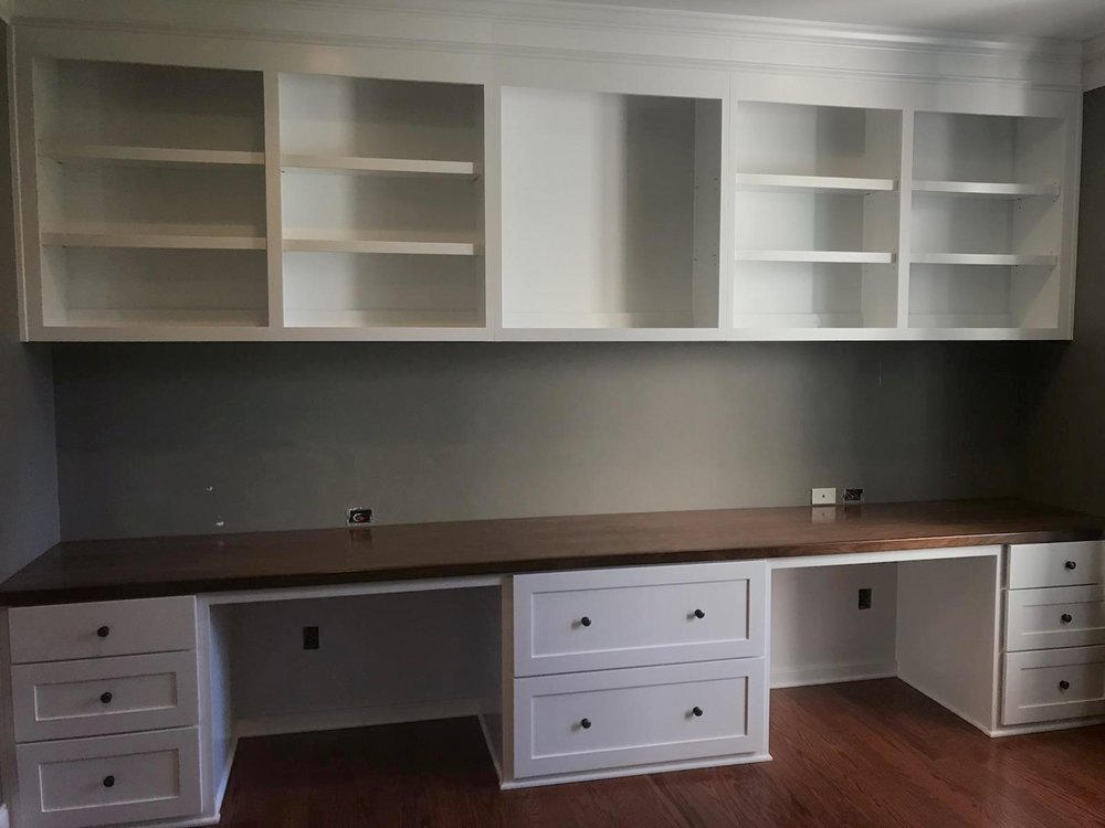 Custom Built-In Desk with Walnut Countertop, Filing Drawers & Adjustable Shelves