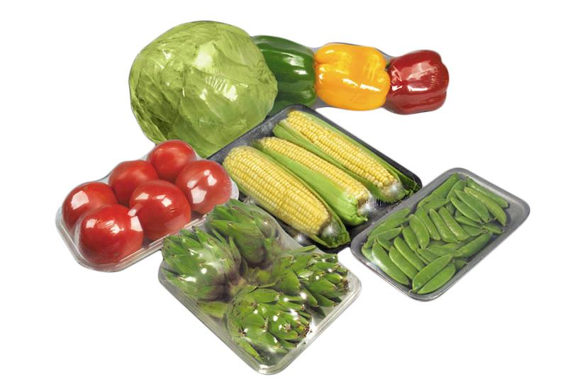 plastic wrapped vegetables