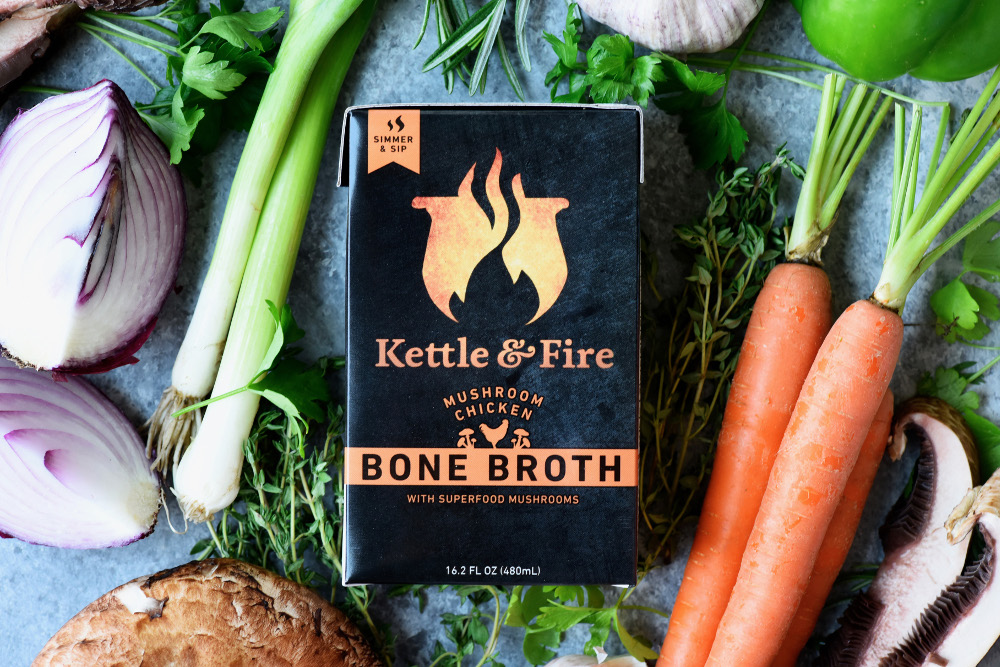 Kettle & Fire 's Mushroom Chicken Bone Broth contains Lion's Mane Mushroom, a natural supplement that has been used for hundreds of years as a powerful brain food.
