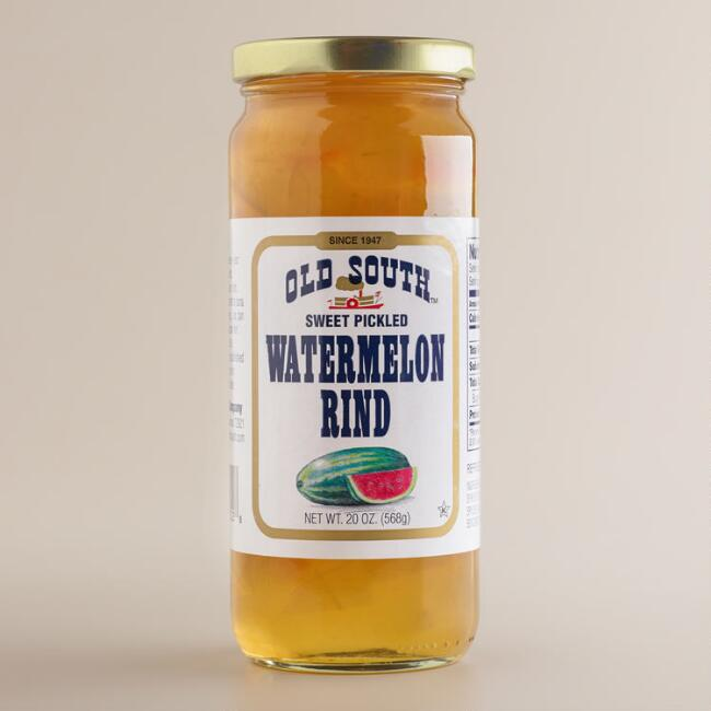 Old South 's Sweet Pickled Watermelon Rind is touted as being tangy and delectable, a perfect accompaniment for beef, pork, fish, and poultry dishes.