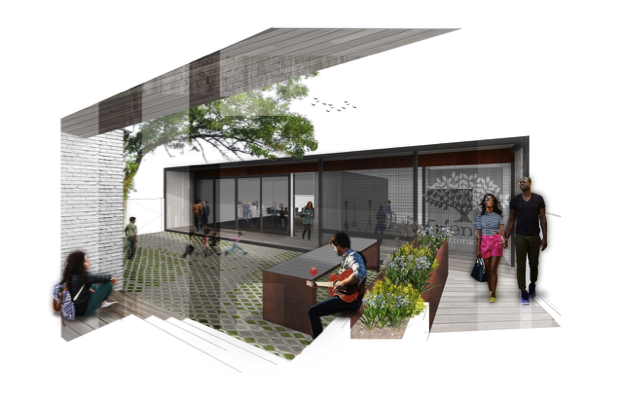 Artist rendering of new multi-use courtyard between current building and new community space.