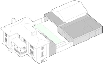 Drawing reflecting addition of storage and programming space to rear of building.