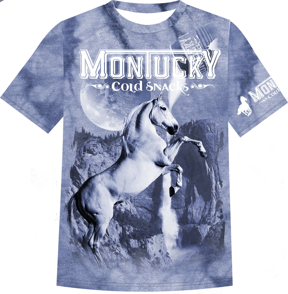"submission to montucky cold snacks ""gas station t-shirt"" competition in 2017, it won, and was produced and distributed by montucky cold snacks."