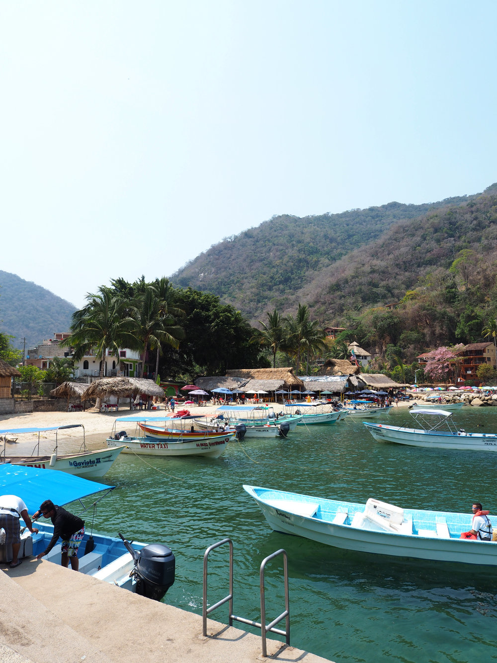 Boats waiting to transfer guests to their hotels
