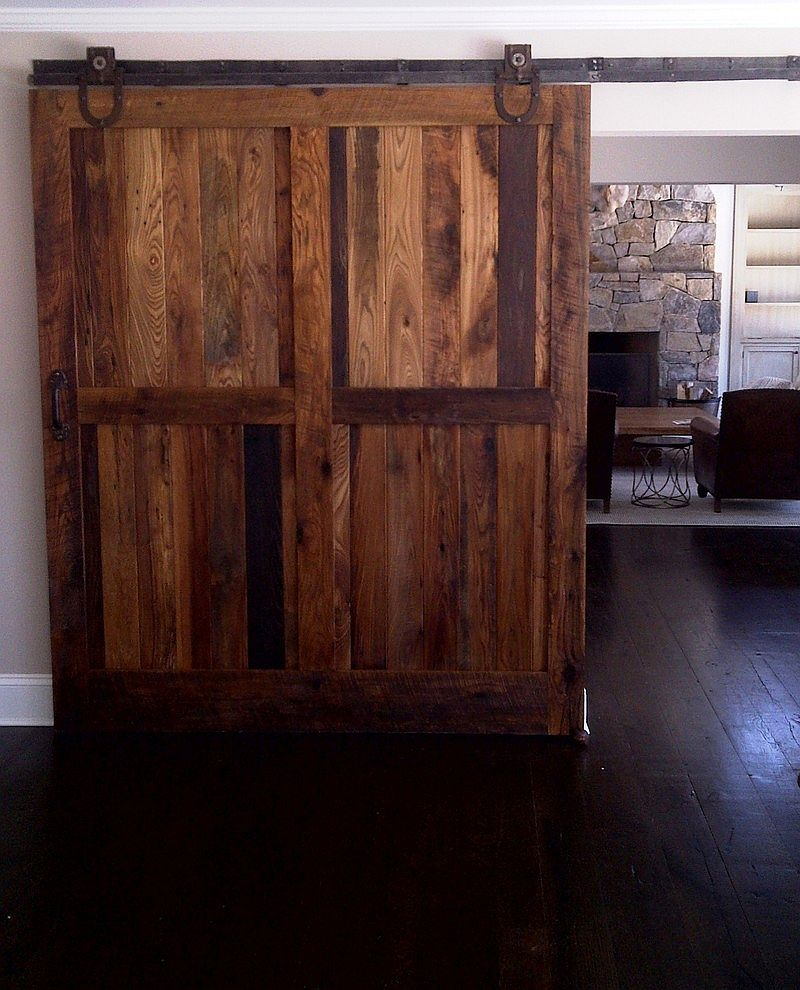 Reclaimed barn wood sliding doors.