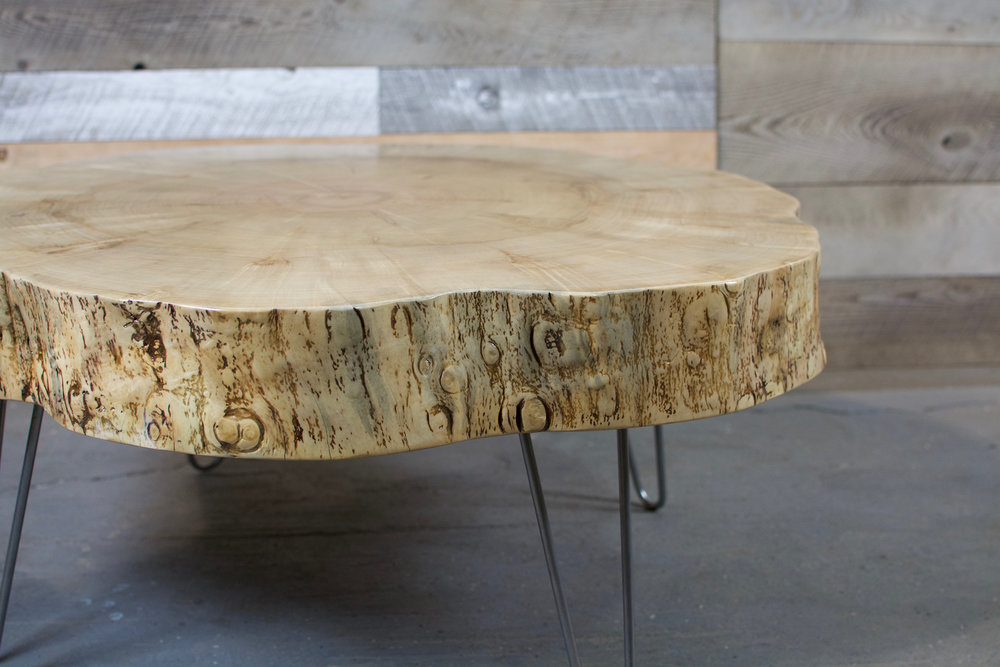 Silver Maple Live Edge Round with Hairpin Leg Coffee Table.