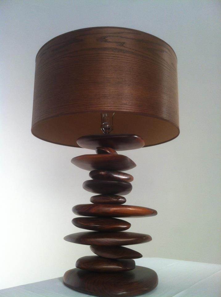 EndGrain custom walnut rock lamp