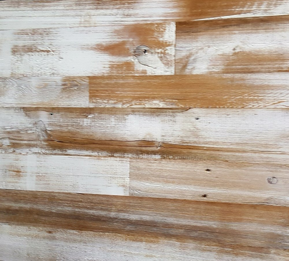 Reclaimed White Wash Siding - Our reclaimed white wash is produced by onsite and made with unleaded paint. We can customize the wash to look heavier or lighter, or to whatever look you are trying to achieve. $10.50 T&G per sq/ft