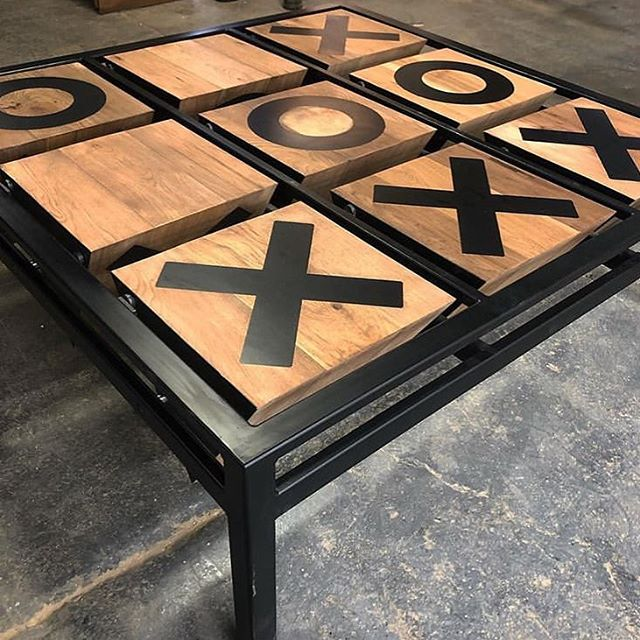 "Steel and butternut ""toss across"" tic tac toe board for the @starrettlehigh building in NYC. Designed by @vda_designs 👌🏼 