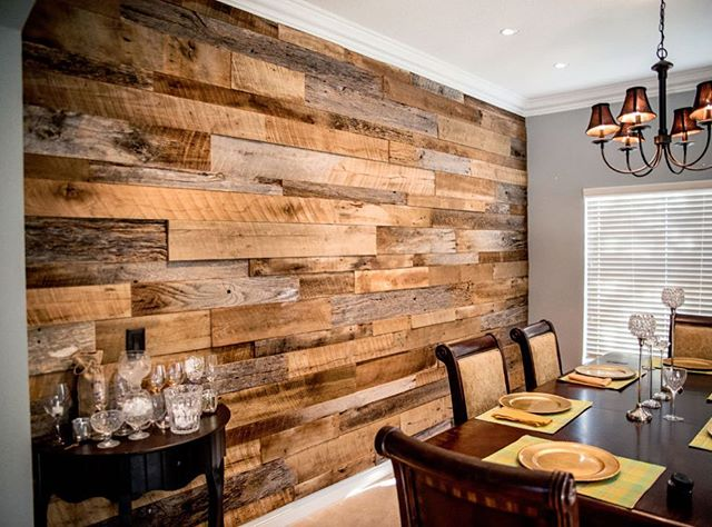 We love interior design that incorporates reclaimed wood siding. Love the look? We've got your back! Our stock of wood siding is as diverse as your creative ideas. Click the link in our bio to browse and then stop by our shop in Bloomfield, NJ to pick up your bundle of reclaimed wood joy. | inspiration image source unknown