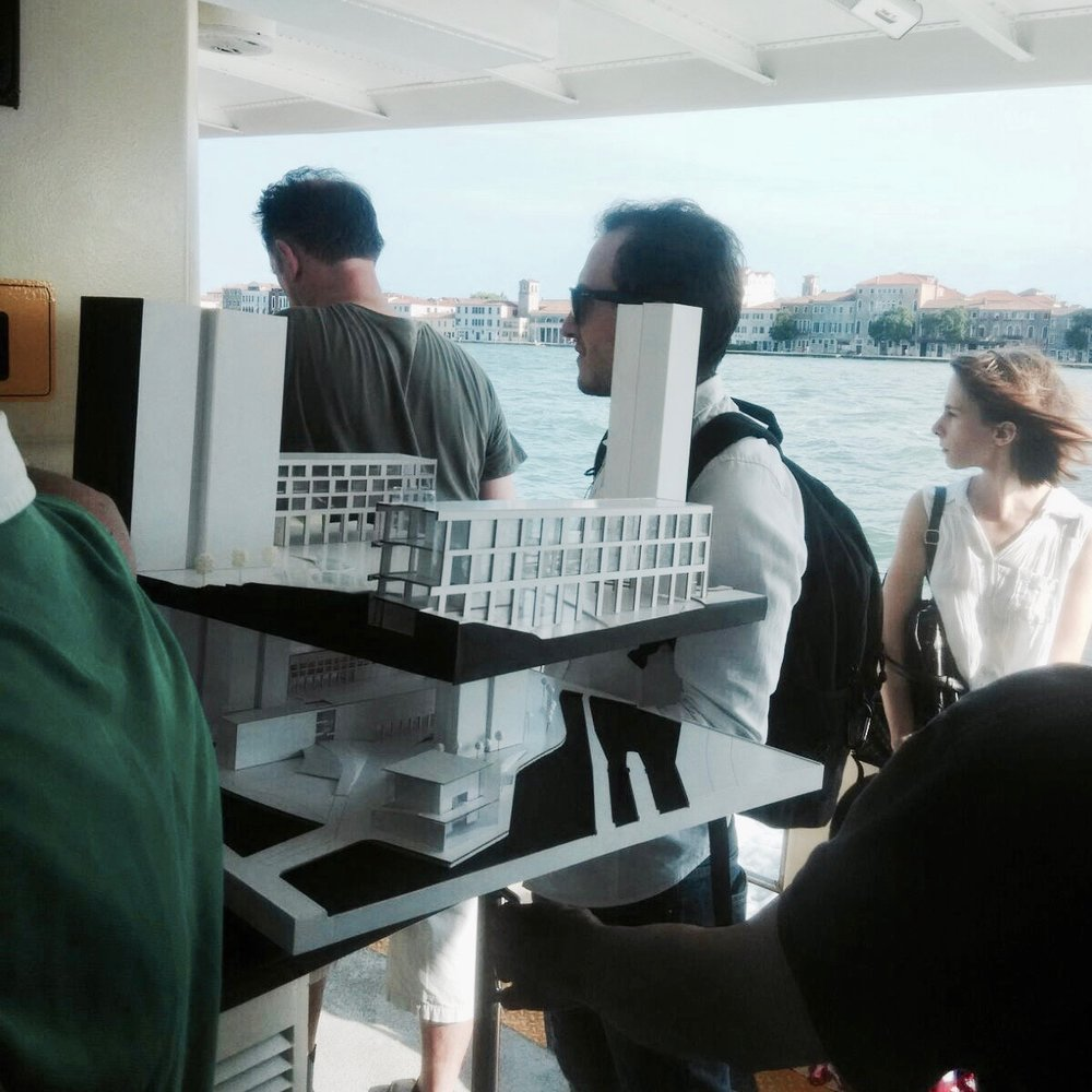 "Maarten: ""From Santa Basilio to Giudecca. Bringing the model back home after presentation."""