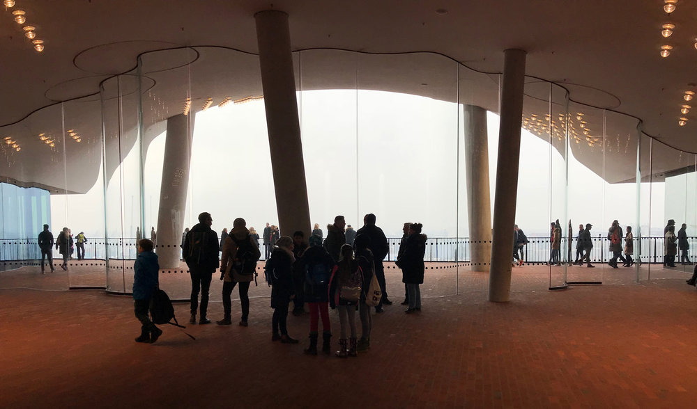 "Elbphilharmonie – inside       ""From the 8th floor, the skyline of Hamburg is framed perfectly by the building. This public floor makes you feel like you are outside on the street, and not half way up a building!"""