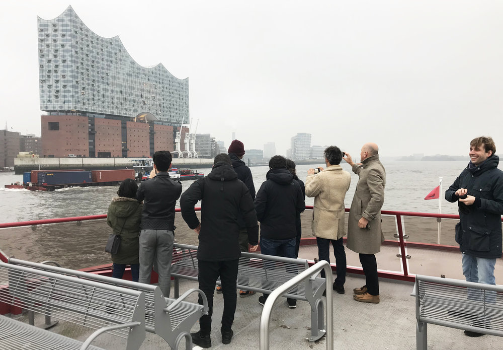 "Daniel:  ""We also went on a boat ride across the Elbe river back to our hotel, and that is really where the building shines! Sailing past the hotel, it seemed to tell a story through revealing its attractive angles."""