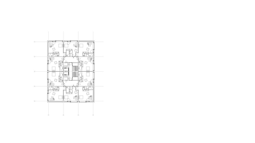 Typical plan of the tower with lofts