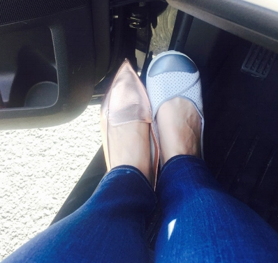 Here is one half of my driving shoes. They are a super comfortable pair of athletic flats I got for a great price at Nordstrom Rack. I tend to wear my driving shoe only on my right foot as that's the shoe that takes a beating.