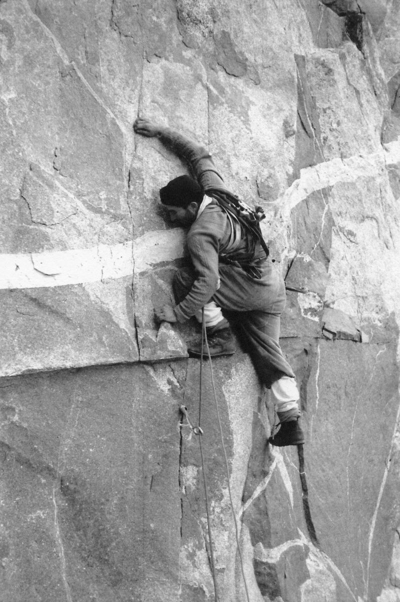 Chouinard climbs in Yosemite National Park in 1964. He was first (and perhaps in his own mind remains foremost) a climber, a renowned pioneer of rock and ice routes around the world.PHOTOGRAPH BY TOM FROST / AURORA PHOTOS