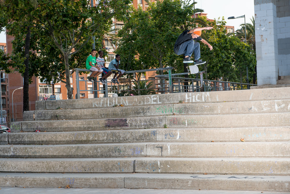 Sebo in mid flight, turning stairs into something much more. (Image: Atiba Jefferson)