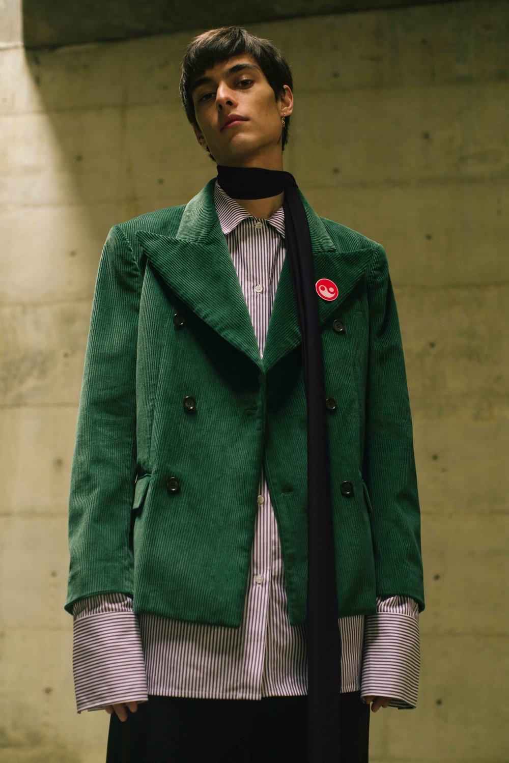 Green Corduroy Jacket  GOSHA RUBCHINSKYI  Shirt  DELADA  Scarf  VICTOR VON SCHWARZ   Pants  RAF SIMONS