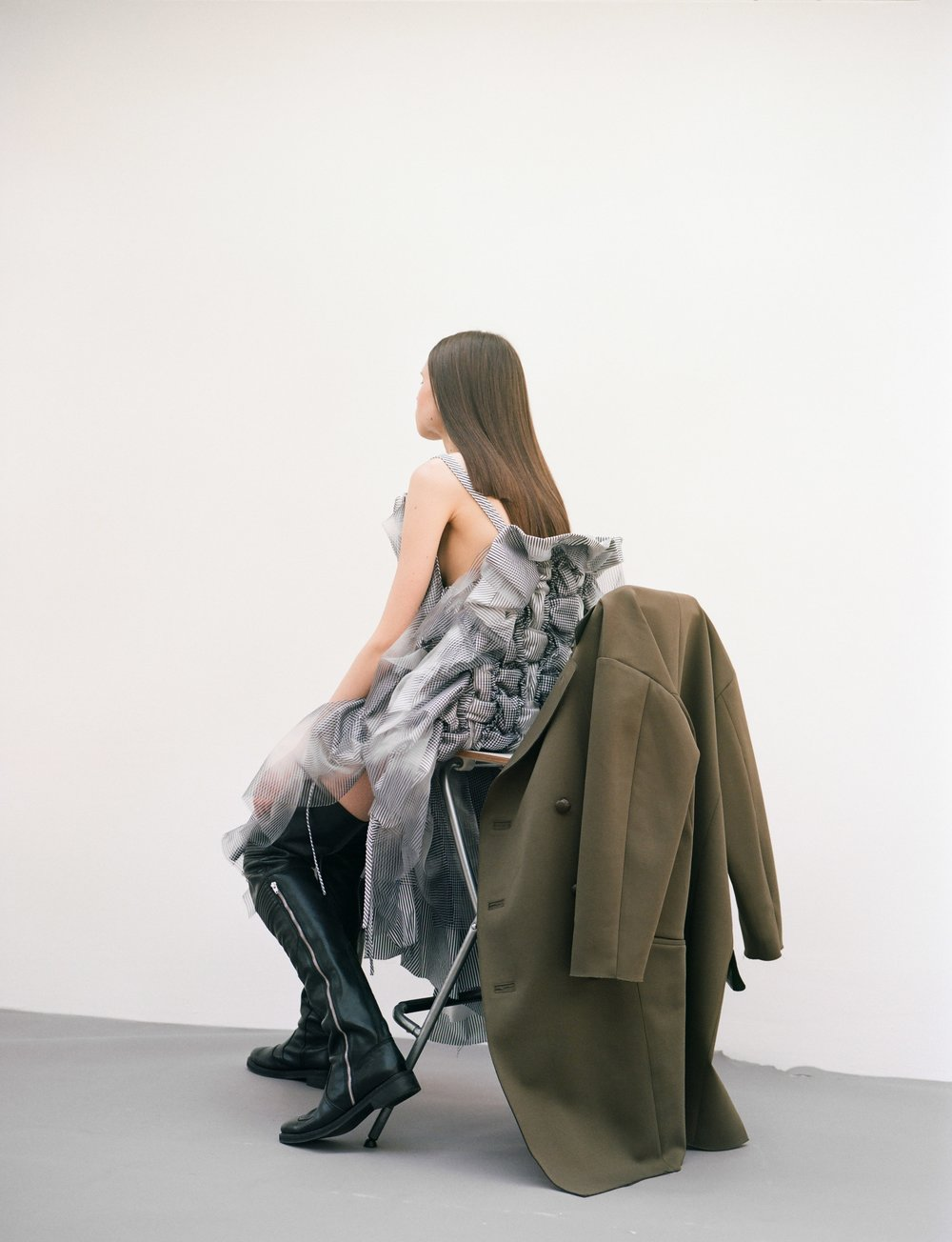Dress  Roberts|Wood    Boots  TOGA Archives    Jacket  TOGA Pulla