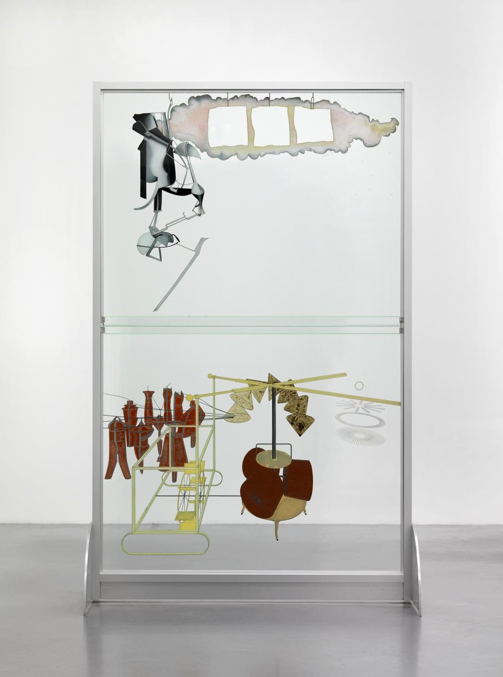 Marcel Duchamp (reconstruction by Richard Hamilton),The Bride Stripped Bare by Her Bachelors, Even (La mariée mise à nu par ses célibataires, même), known as The Large Glass, 1915 (reconstructed in 1965–66 and 1985).