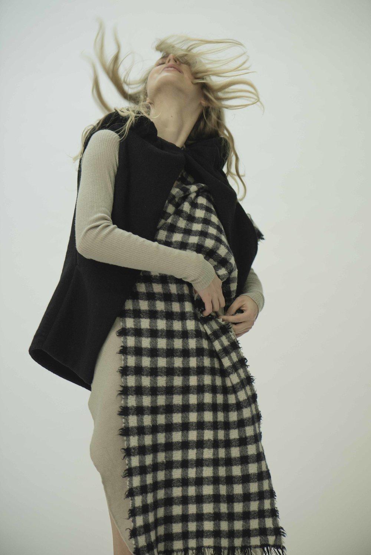 Dress and Gilet  RICK OWENS  Scarf  VIVIENNE WESTWOOD