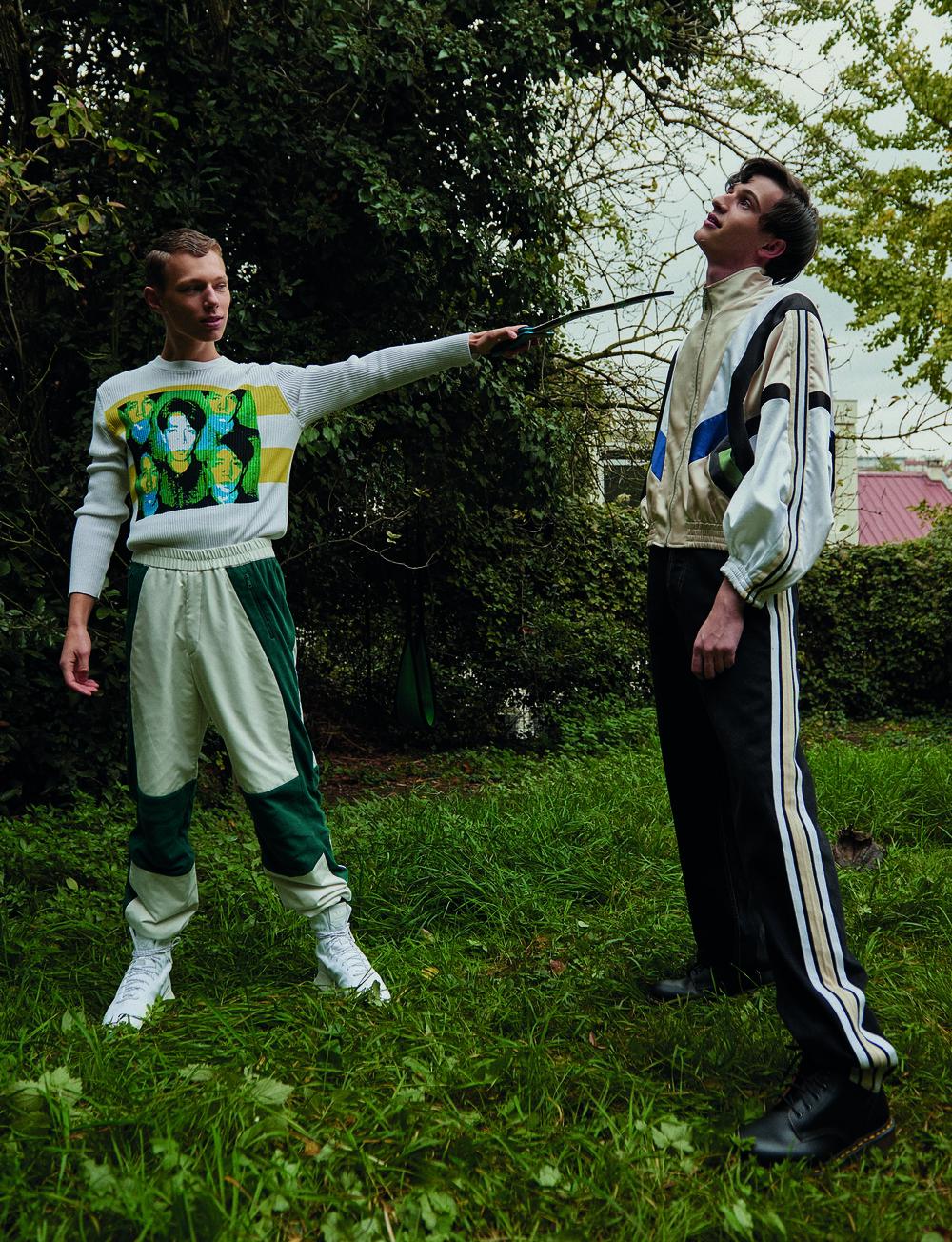 Luca wears Jumper  KENZO   Jogger  LACOSTE   Sneakers  ADIDAS   Augustin wears Tracksuit  KOCHE  Boots  DR MARTENS