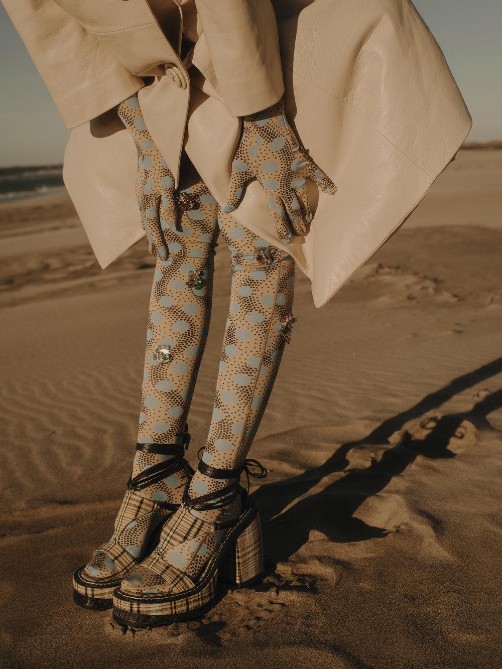 Dress, Gloves and Tights  KENZO    Coat and Shoes  MIU MIU