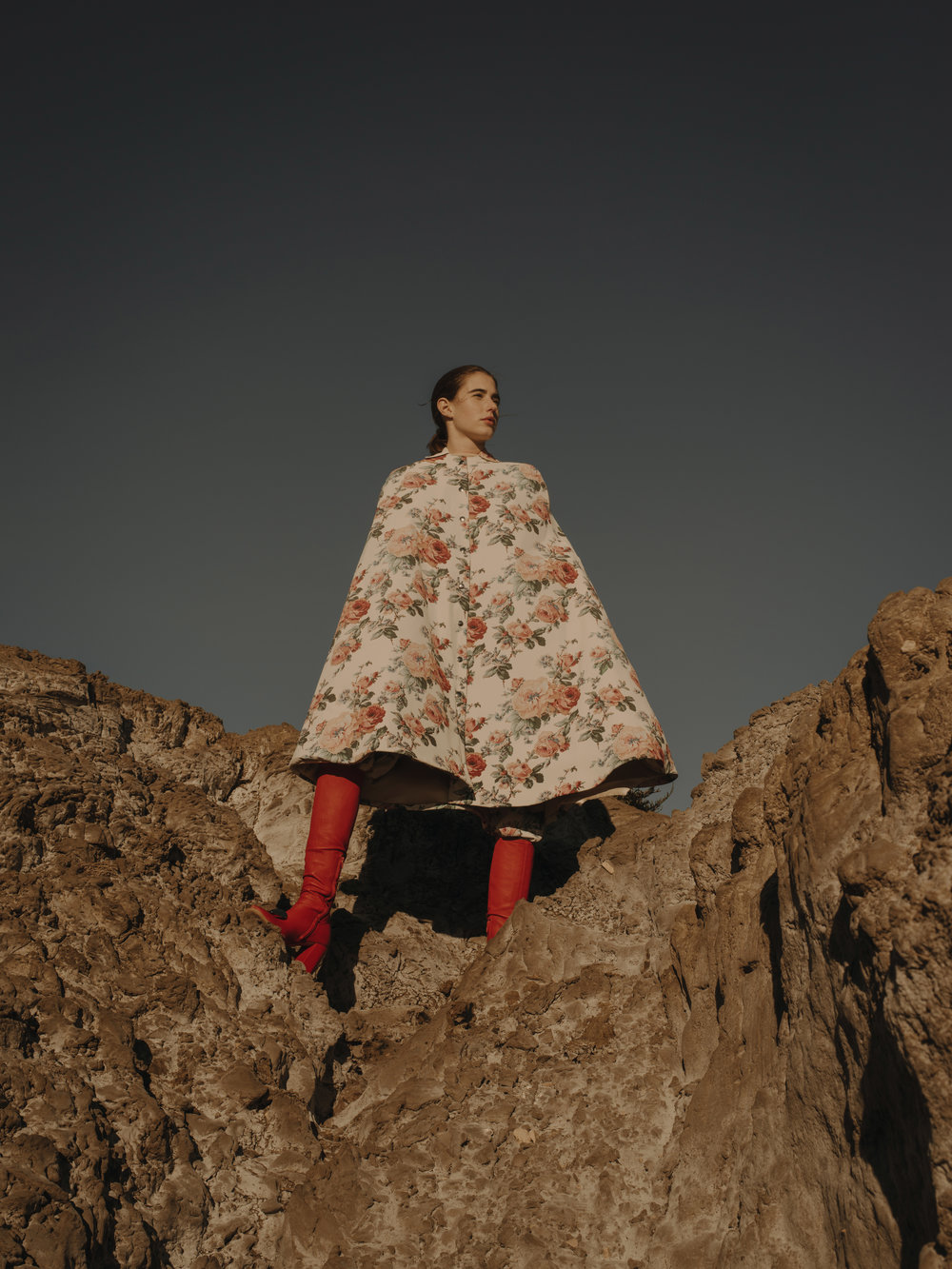 Cape and Trousers  NICOLAS LECOURT MANSION    Boots  MULBERRY