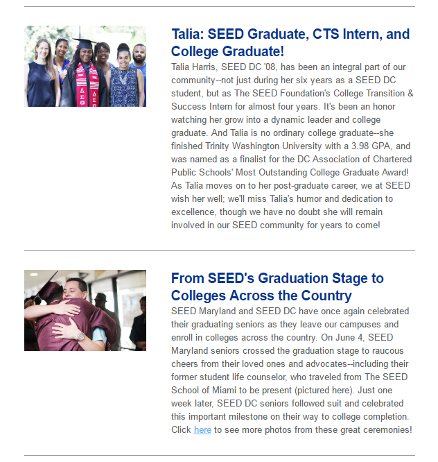 Graduation season is the perfect time to celebrate what's possible when we believe in our students and give them opportunities to prove their potential. Read on for a glimpse into some of the accomplishments our students have celebrated over the last few weeks as they have taken the next steps towards college and their careers!