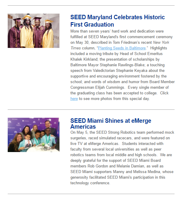 SEED Maryland's first graduating class is going to college, SEED Miami's sixth graders are wrapping up a successful first year, and SEED DC students and graduates continue to persist to and through college. Join us in celebrating their many accomplishments!