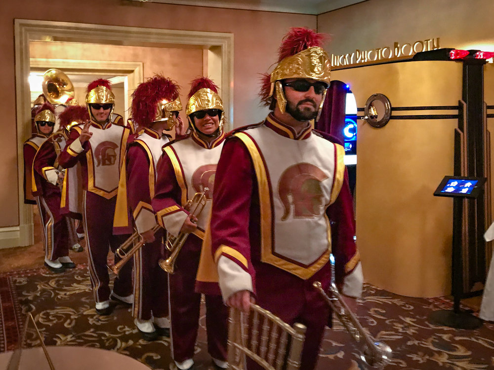 These guys definitely know how to make an entrance! The USC Marching Band does weddings!