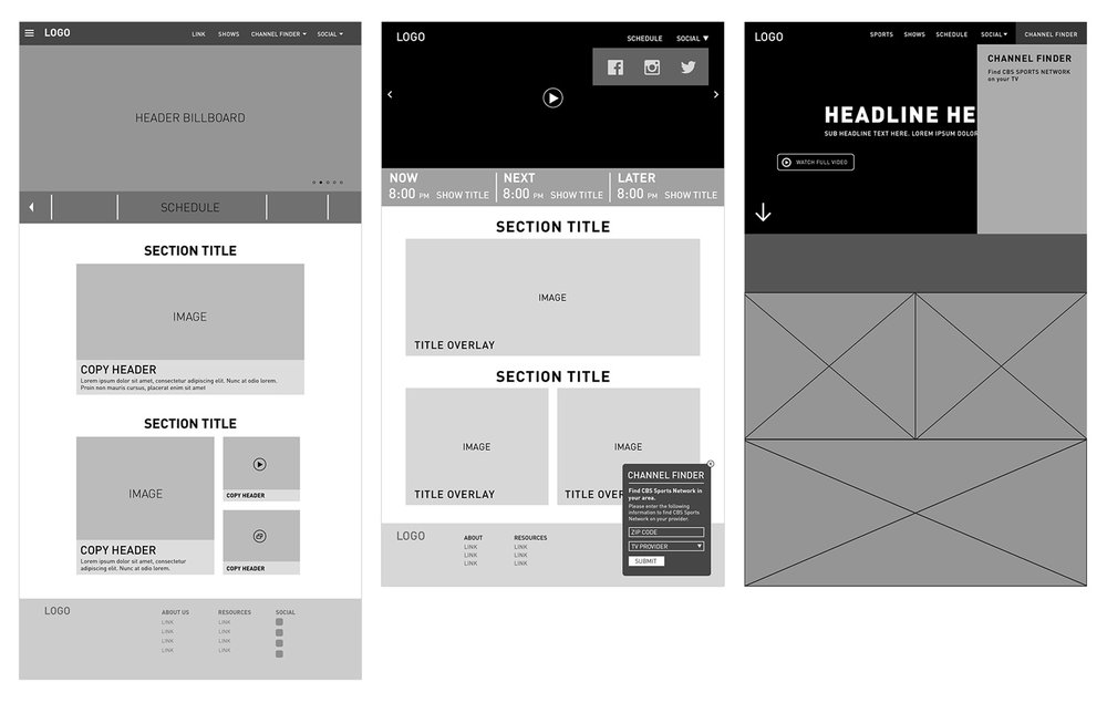 Wireframes 1-3: