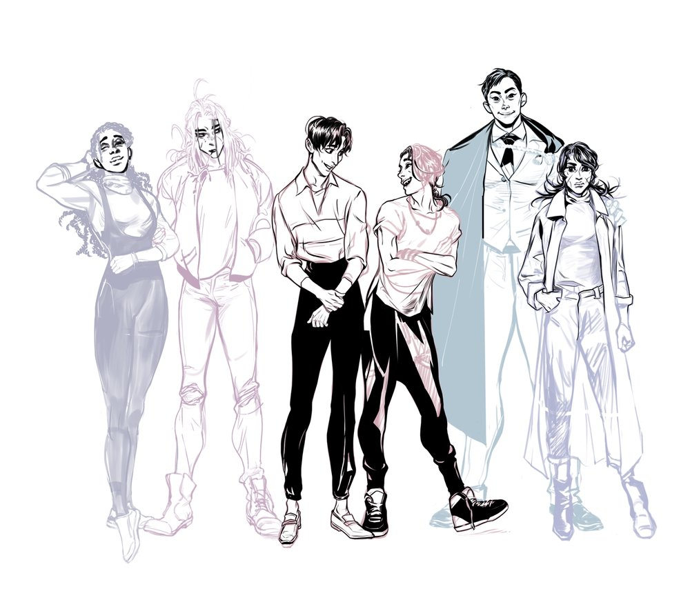 The main cast of heroes. From left to right, their names are: Nadja, Maurice, Paolo, Sun, John Iwa, and Alba Tourmaline.