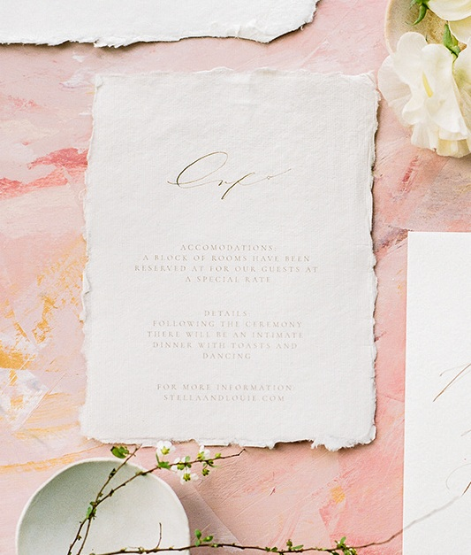 Calligraphy Wedding Stationery on Handmade Paper