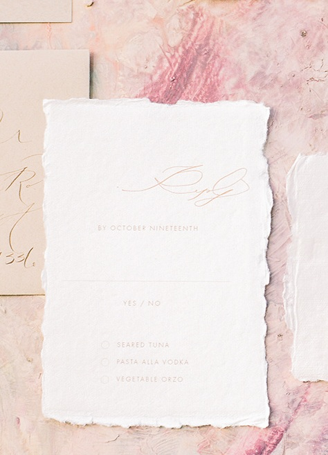 Calligraphy Wedding Reply Card on Handmade Paper